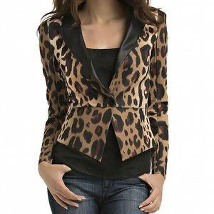 Kardashian Kollection leopard ponte blazer XL